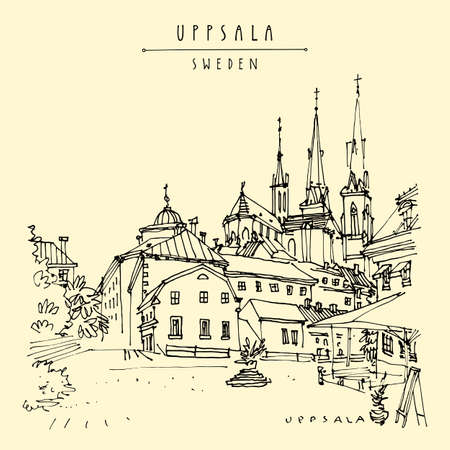 Artistic Uppsala, Sweden postcard. Old town travel sketch. Uppsala Cathedral in the French Gothic style, antique buildings, cafe. Vintage touristic postcard, poster or book illustration