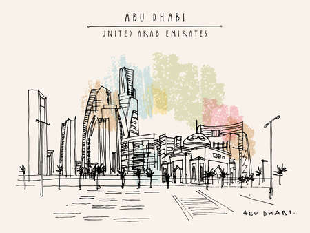 Artistic Abu Dhabi, United Arab Emirates postcard. Downtown skyscrapers panorama. Hand drawing. Travel sketch. Vintage horizontal format touristic greeting card, poster, brochure illustration