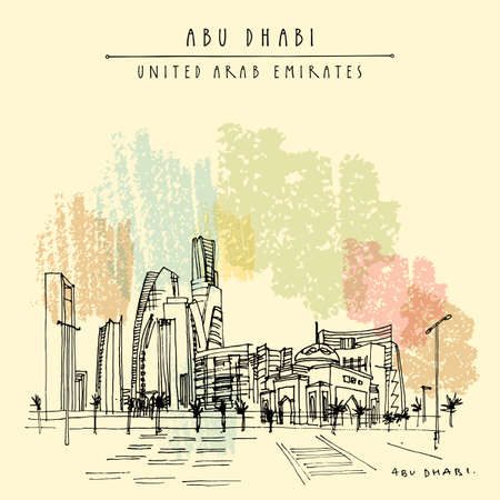 Artistic Abu Dhabi, United Arab Emirates skyline postcard. Downtown skyscrapers panorama. Hand drawing. Travel sketch. Vintage touristic square format greeting card, poster, brochure illustration 向量圖像