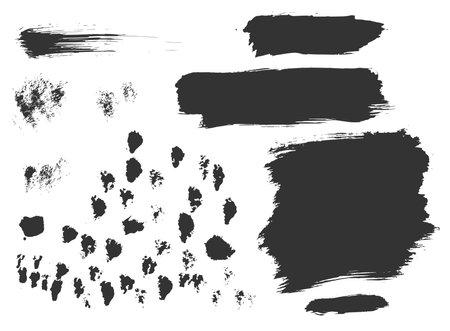 Hand drawn ink design elements. Dry brush stroke textures. Set of grunge black artistic brushstroke design elements isolated on white background 向量圖像