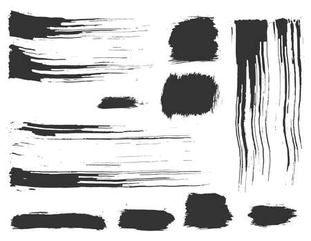 Hand drawn ink design elements. Dynamic dry brush strokes and rectangles. Artistic set of grunge black artistic brushstroke elements on white background for your design 向量圖像