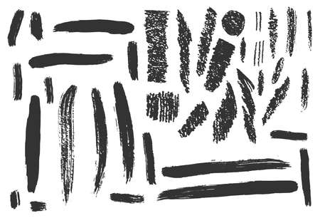 Hand drawn ink design elements. Brush strokes, pastel and pencil textures. Set of grunge black artistic brushstroke design elements isolated on white background
