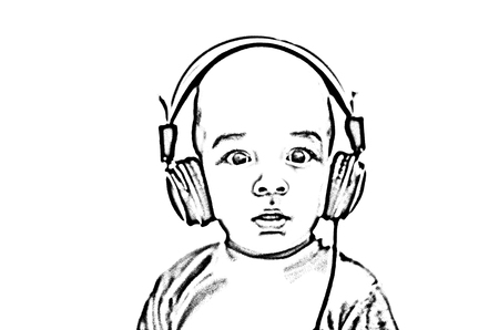 listening to music: Little boys silhouette with headphones