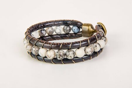 Decoration Leather bracelet with stone beads close-up