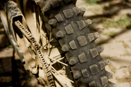 Rear Wheel Mountain Motorcycle Protector Close-up Detail Archivio Fotografico
