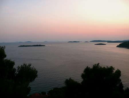 inflow: sunset over the adriatic sea Stock Photo