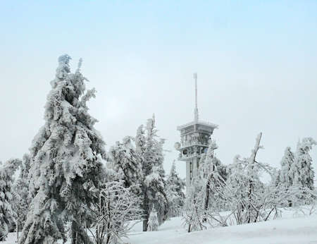 Klinovec in Czehc republic in winter photo