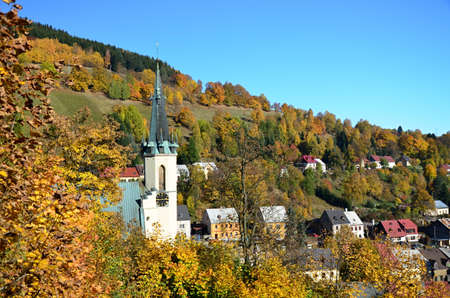 carlsbad: view of the landscape in village Jachymov in the Czech republic