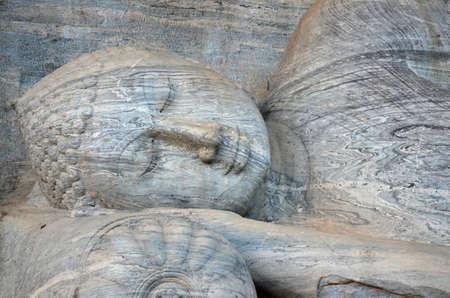 stone buddha: Stone buddha lying  in Polonnaruwa Stock Photo