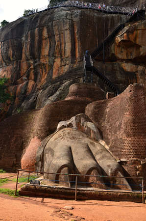 Monolith: Lion Rock a sacred place with a stone monolith in Sri Lanka Stock Photo