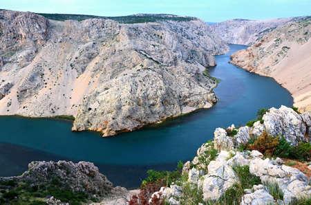View of Canyon Zrmanja  with blue-green river Croatia