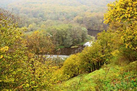 meanders: Autumn landscape in Moravia Czech republic -river Dyje Stock Photo
