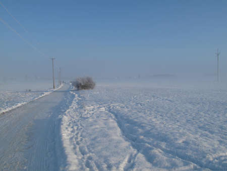 fairplay: Landscape with road in winter in Czech republic