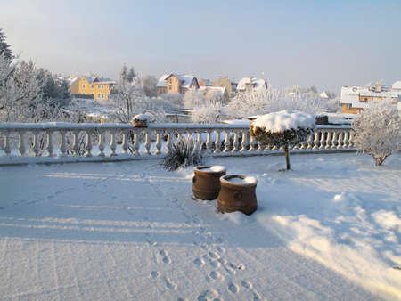 balustrades: Snow-covered terrace in Franzensbad Czech republic Stock Photo