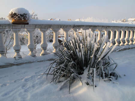 balustrades: Snow-covered terrace and garden