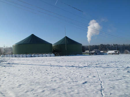 fairplay: View of the biogas plant in winter - Environmentally friendly production of energy