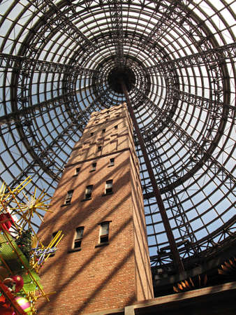 was: Interior of Melbourne Central Shopping Centre, Melbournes Shot Tower which was built on the site in 1888