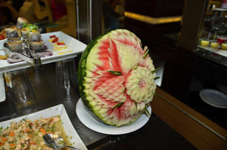 Decoratively  carved watermelon prepare for eating