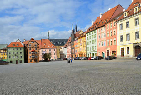 view of the historical Špalí?ek in the square of the King of the Pod?brady in Cheb