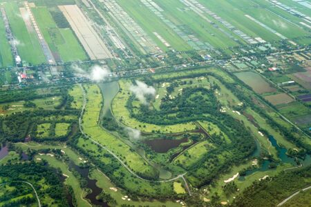 landing bangkok, airfield, airplanes, landscape Stock Photo