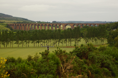 The Culloden Viaduct is part of the Perth-Inverness railroad in Scotland, which swings to the east about nine kilometers before Inverness to cross the river Nairn at Culloden. Stock Photo