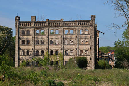 Ruin of the storage building of the Boellberg mill complex in Halle in Germany