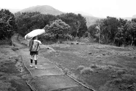 porter: Machame,KilimanjaroTanzania - January 16, 2016: Local porter carrying bag on his head in Machame Route, Kilimanjaro, Tanzania on January 16, 2016. Black white photo. Editorial