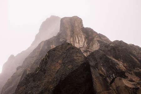 kilimanjaro: Lava tower layers view with fog, Kilimanjaro Stock Photo