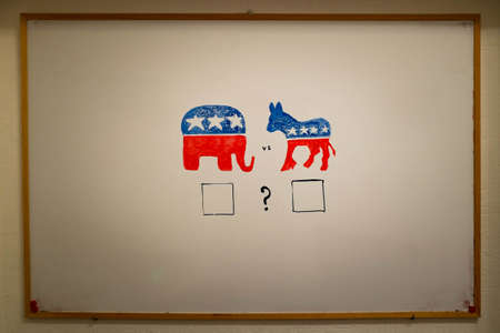 either: Concurrent politics concept. Democrats vs republicans elections. USA 2016. Drawn on whiteboard with markers. Empty squares voting.