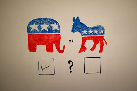 concurrent: Concurrent politics concept. Democrats vs republicans elections. USA 2016. Drawn on whiteboard with markers. Squares voting, republicans win.