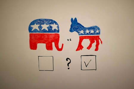 concurrent: Concurrent politics concept. Democrats vs republicans elections. USA 2016. Drawn on whiteboard with markers. Squares voting, democrats win.