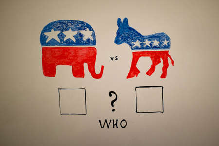 concurrent: Concurrent politics concept. Democrats vs republicans elections. USA 2016. Drawn on whiteboard with markers. Squares voting, whowin.