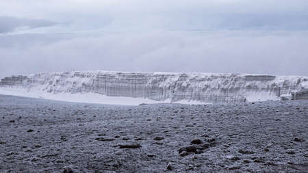 kilimanjaro: Kilimanjaro top view with glacier and frozen ground Stock Photo