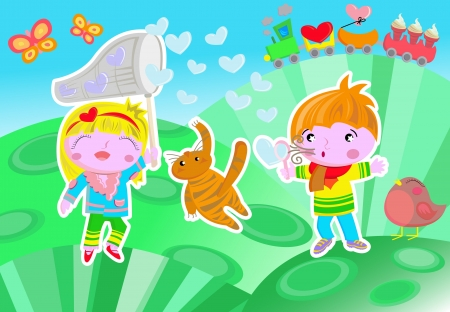 An illustration with two playful children playing with soap bubbles heart shaped  They are standing in a  hill where there is a little train, a bird, and two butterflies  There is also a little cat that is trying to distroy a bubble  Vector