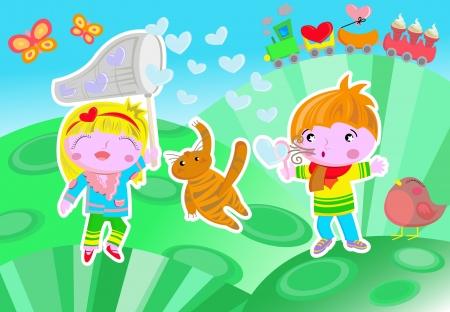 donna farfalla: Un esempio con due bambini allegri che giocano con le bolle di sapone a forma di cuore Sono in piedi su una collina dove c'� un trenino, un uccello, e due farfalle C'� anche un piccolo gatto che sta cercando di distroy una bolla Vettoriali