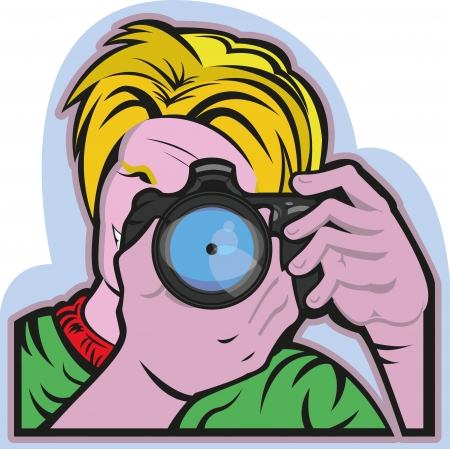 light reflex: This illustration shows a man taking a picture  He s holding a camera watching into it to focus the snap