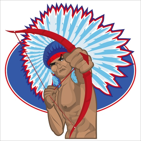 warlike: This file represents a young muscolar American indian or redskin which is using his bow while he Illustration