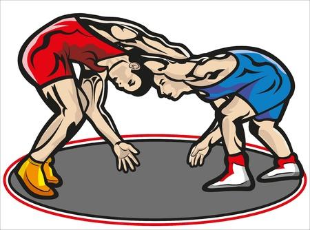 Diese Datei stellt zwei muskulösen jungen Kämpfer in einer Begegnung mit einem Trainingsanzug rot und ein anderes Blau. Alles ist gruppiert und in die Schicht eingeteilt. Der Teppich ist in einer anderen Schicht und kann gelöscht werden. Keine Transparenz verwendet. Kein Farbverlauf verwendet.