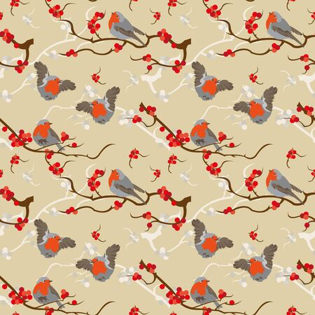 redbreast: This file represents a pattern with some birds, in particular robin redbreast sitted on a brunch with red berries. Everything is on the same layer but the background. No transparency used. No gradient used. Illustration