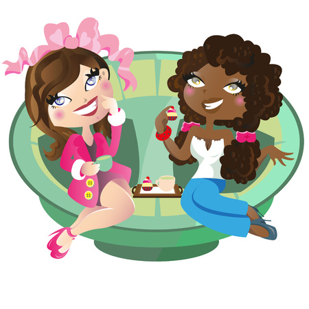 woman drinking coffee:  two women having tea illustration Illustration