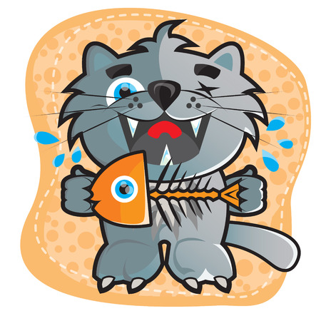 represents: This file represents a vector cartoon cat that is eating a fish Illustration