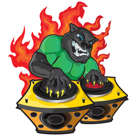 This illustration represents a black panther playing as dj.  Vector