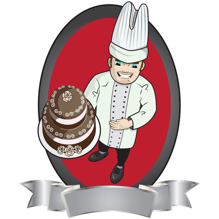 a pastry chef holding a chocolate cake with decorations and some rose Vector