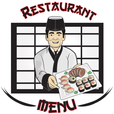 handing:  a sushi chef that is handing a plate with sushi