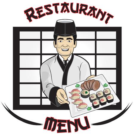 reis gekocht: ein Sushi-Koch, die �bergabe wird eine Platte mit Sushi Illustration