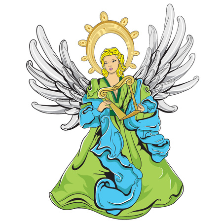 a green and blue angel with light grey wings, that is playing an harp.