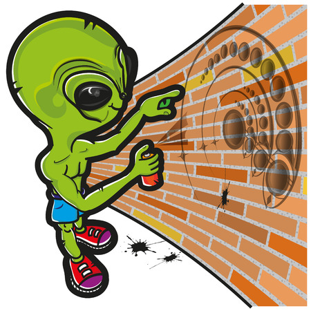 crop circle: an alien that is drawing a crop circle in a wall.