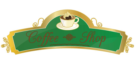 a coffee shop sign or label, with a calligraphic write and a cup of coffee with some cream and coffee grains.