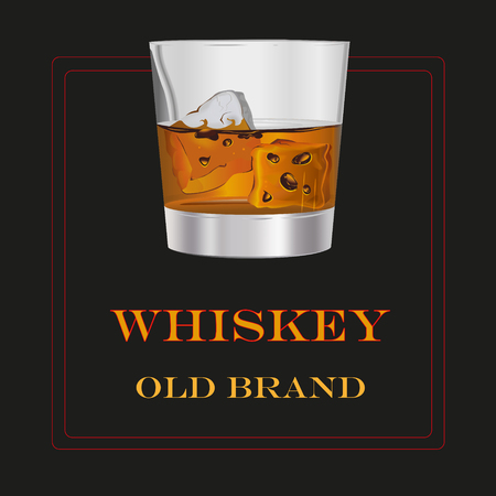 This file represents a transparent glass of orange or brown whiskey, with the write old brand in a black background. Everything is grouped and divided into layers. Ilustrace