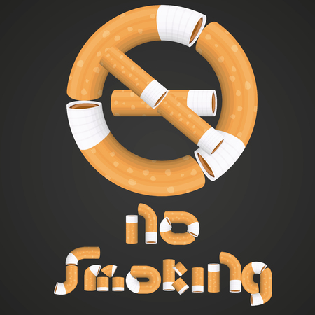 interdiction: This file represents a writing No Smoking with the prohibition sign made by a consequence of cigarettes on a gradient black and gray background. Everything is grouped and divided into layers.